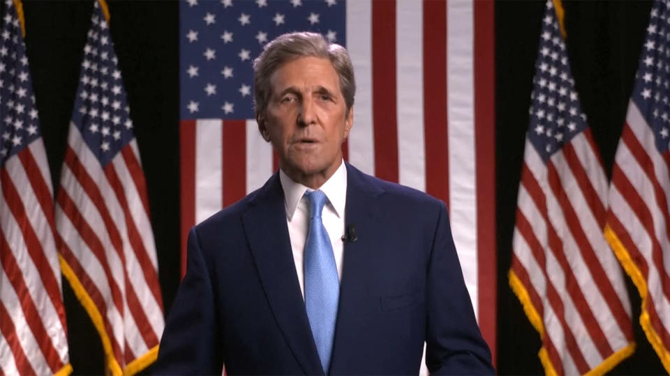 Former Secretary of State John Kerry speaks at the online Democratic National Convention on Aug. 18, 2020. (via Reuters TV)