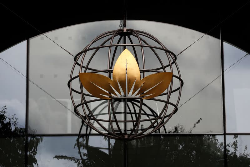 A logo is seen at the British American Tobacco offices in London