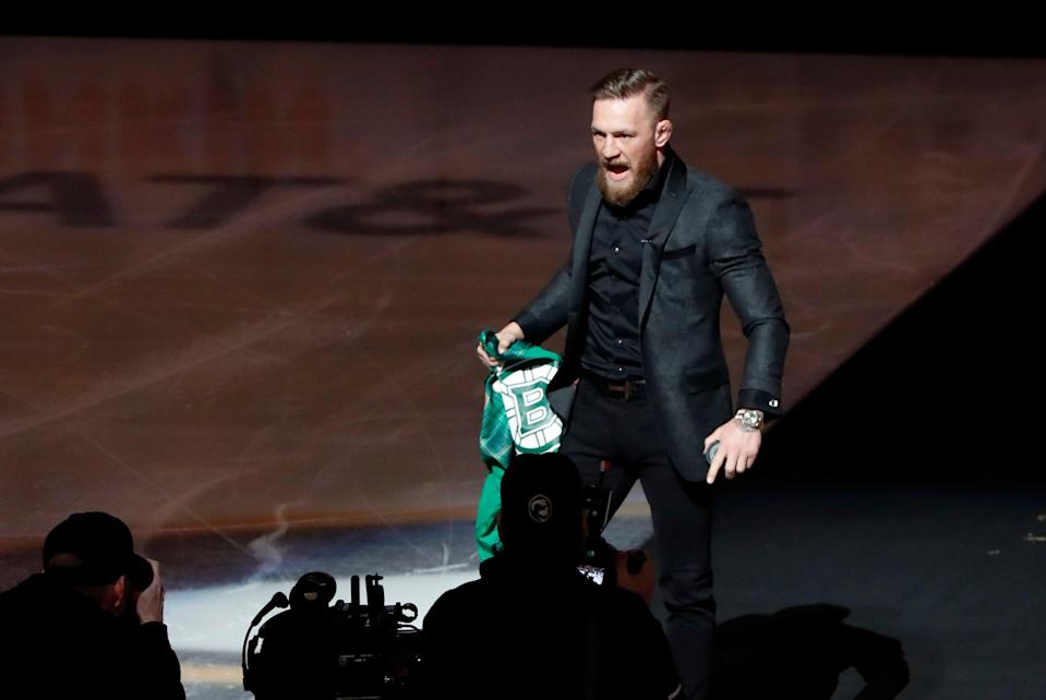 BOSTON, MA - MARCH 16: Conor McGregor before a game between the Boston Bruins and the Columbus Blue Jackets on. March 16, 2019, at TD Garden in Boston, Massachusetts. (Photo by Fred Kfoury III/Icon Sportswire via Getty Images)