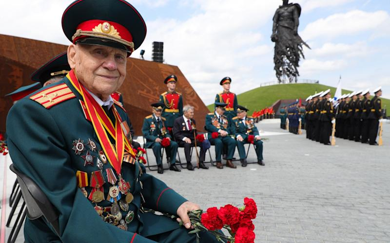 Veterans attend the unveiling of a new war monument in the Tver Region, Russia - Mikhail Klimentyev/Tass via Getty Images