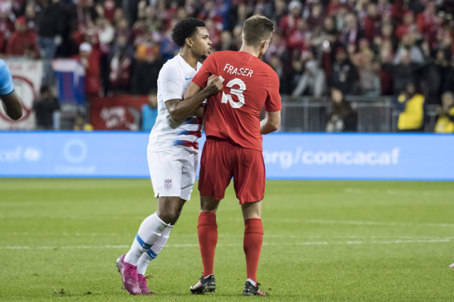 Weston McKennie (left) had another frustrating night for the U.S. in last week's 2-0 loss in Canada. (Angel Marchini/Getty)