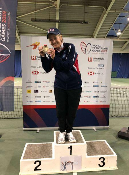 PHOTO: Genie Kilpatrick poses with her gold metal at the 2019 World Transplant Games. (Sheri Norris)
