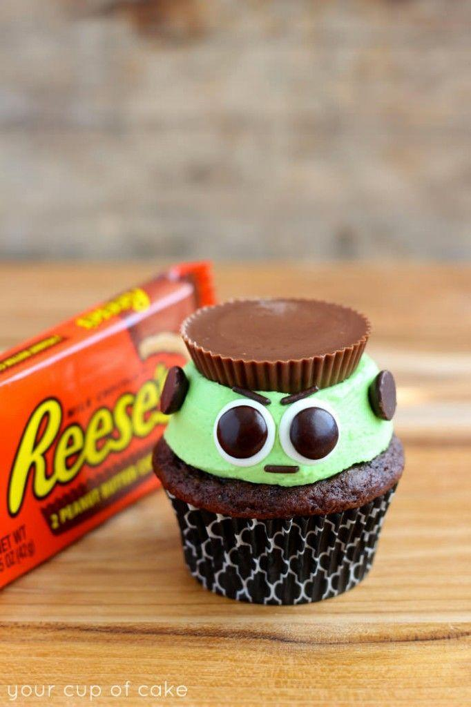"""<p>You've never seen a monster look this cute (and delicious!) before.</p><p><strong>Get the recipe at </strong><a href=""""http://www.yourcupofcake.com/2014/10/reeses-frankenstein-cupcakes.html"""" rel=""""nofollow noopener"""" target=""""_blank"""" data-ylk=""""slk:Your Cup of Cake"""" class=""""link rapid-noclick-resp""""><strong>Your Cup of Cake</strong></a>.</p>"""