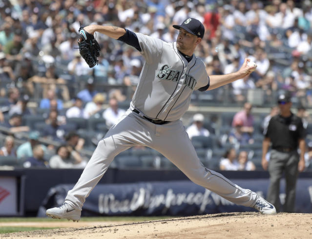 Seattle Mariners pitcher James Paxton delivers the ball to the New York Yankees during the second inning of a baseball game Thursday, June 21, 2018, at Yankee Stadium in New York. (AP Photo/Bill Kostroun)