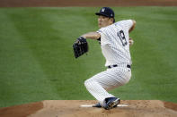 New York Yankees starting pitcher Masahiro Tanaka throws in the first inning of a baseball game against the Boston Red Sox, Saturday, Aug. 1, 2020, in New York. (AP Photo/John Minchillo)