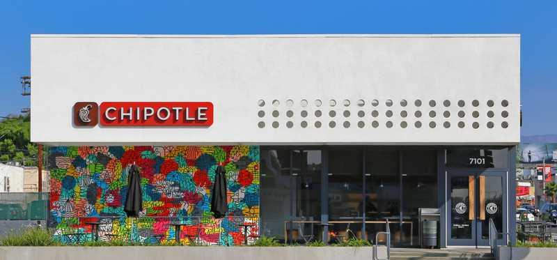 Chipotle Mexican Grill restaurant on Melrose Avenue in Los Angeles California