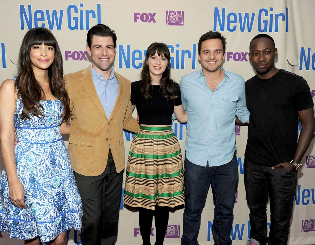 "Hannah Simone, Max Greenfield, Zooey Deschanel, Jake Johnson and Lamorne Morris arrive at FOX's ""New Girl"" screening and Q&A at the Academy of Television Arts & Sciences' Leonard H. Goldenson Theater on Tuesday, April 30, 2013 in North Hollywood, California."