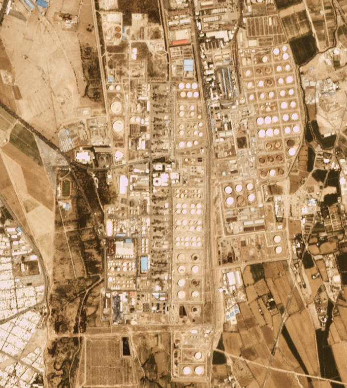The Tondgooyan Petrochemical Co. is seen in a satellite photo by Planet Labs Inc. just south of Tehran, Iran, on Wednesday, June 2, 2021. A massive fire broke out Wednesday night at the oil refinery serving Iran's capital, sending thick plumes of black smoke over Tehran. It wasn't immediately clear if there were injuries. (Planet Labs Inc. via AP)