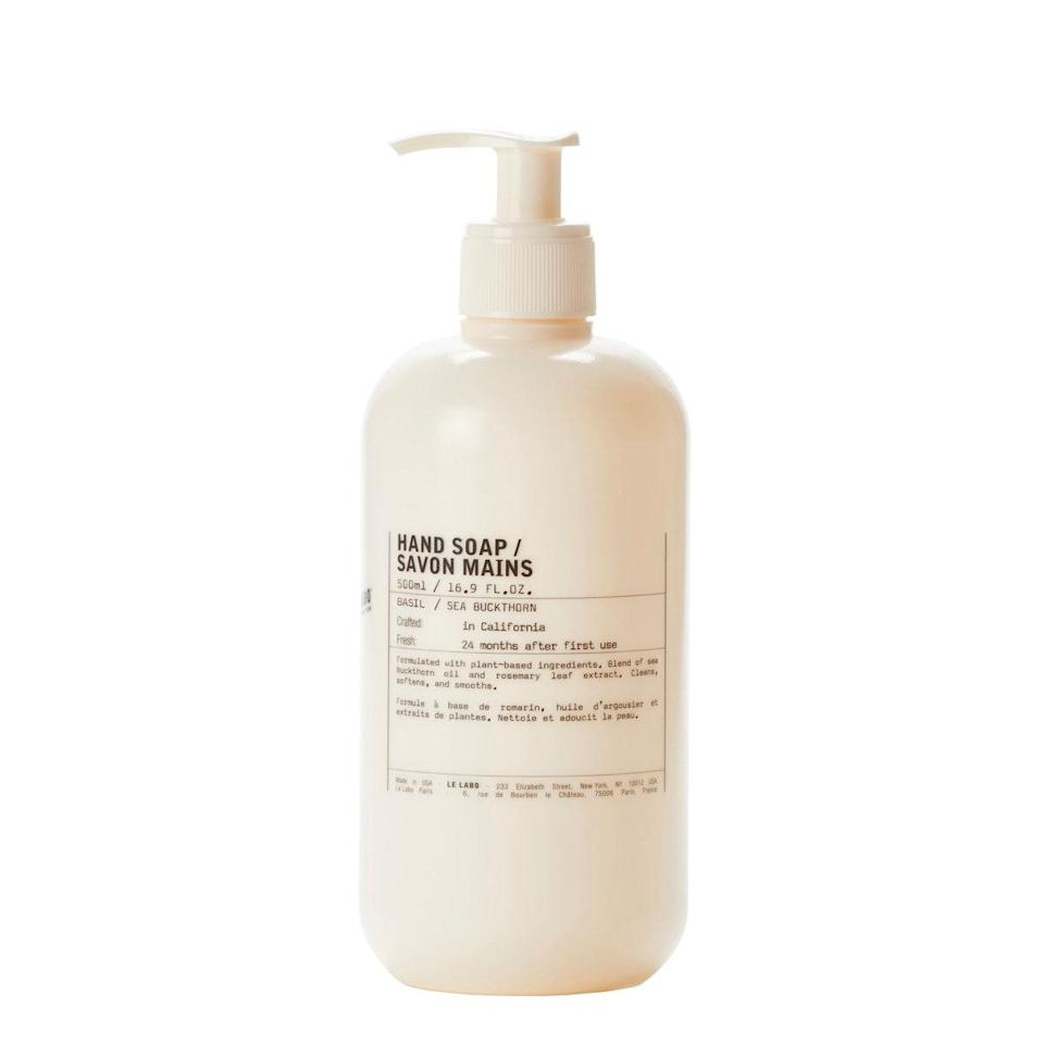 """If you're going to be washing your hands approximately 500 times a day, you might as well make it a luxurious experience. This hand wash has a fresh basil scent that's sophisticated but not cloying, is never drying, and looks stunning in your bathroom. Plus, it's the cheapest thing on this list. $40, Nordstrom. <a href=""""https://www.nordstrom.com/s/le-labo-jumbo-basil-hand-soap/5667241?origin=category-personalizedsort&breadcrumb=Home%2FAnniversary%20Sale%2FBeauty%20Exclusives&color=none"""" rel=""""nofollow noopener"""" target=""""_blank"""" data-ylk=""""slk:Get it now!"""" class=""""link rapid-noclick-resp"""">Get it now!</a>"""