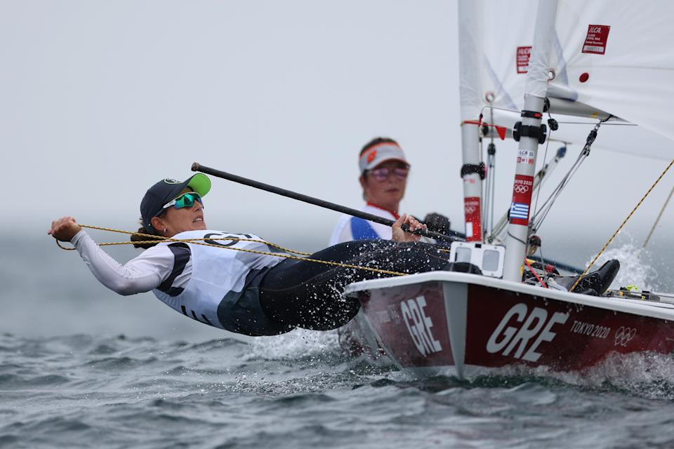 <p>FUJISAWA, JAPAN - JULY 26: Vasileia Karachaliou of Team Greece competes in the Women's Laser Radials on day three of the Tokyo 2020 Olympic Games at Enoshima Yacht Harbour on July 26, 2021 in Fujisawa, Kanagawa, Japan. (Photo by Clive Mason/Getty Images)</p>