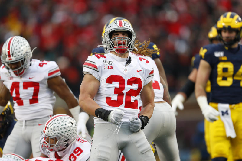 Ohio State linebacker Tuf Borland (32) plays against Michigan in the second half of an NCAA college football game in Ann Arbor, Mich., Saturday, Nov. 30, 2019. (AP Photo/Paul Sancya)