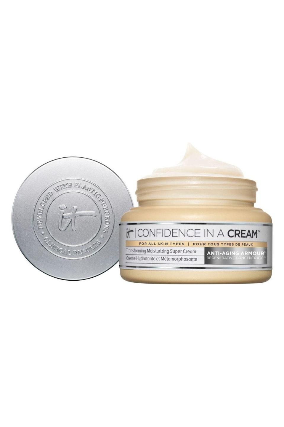 """<p><strong>It Cosmetics</strong></p><p>ulta.com</p><p><strong>$49.00</strong></p><p><a href=""""https://go.redirectingat.com?id=74968X1596630&url=https%3A%2F%2Fwww.ulta.com%2Fconfidence-in-a-cream-anti-aging-moisturizer%3FproductId%3DxlsImpprod13641053&sref=https%3A%2F%2Fwww.marieclaire.com%2Fbeauty%2Fg34015100%2Fanti-aging-moisturizers%2F"""" rel=""""nofollow noopener"""" target=""""_blank"""" data-ylk=""""slk:SHOP IT"""" class=""""link rapid-noclick-resp"""">SHOP IT</a></p><p>This cream has all the ingredients that your skin is craving, including squalene, peptides, hyaluronic acid, and collagen. Perfect for blurring pores and adding radiance to your skin, you'll probably get carded again when you buy wine while wearing this moisturizer. </p>"""