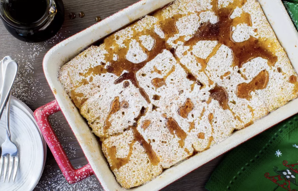 """<p>The holidays are just an easy french toast casserole away. You don't even need actual eggnog to make this, just all the signature winter spices like nutmeg and vanilla and a hearty loaf of Italian bread. Simply assemble, stash in the fridge overnight and bake it in the morning for the coziest breakfast ever. </p> <p><a href=""""https://www.thedailymeal.com/best-recipes/overnight-eggnog-french-toast?referrer=yahoo&category=beauty_food&include_utm=1&utm_medium=referral&utm_source=yahoo&utm_campaign=feed"""" rel=""""nofollow noopener"""" target=""""_blank"""" data-ylk=""""slk:For the Overnight Eggnog French Toast Casserole recipe, click here."""" class=""""link rapid-noclick-resp"""">For the Overnight Eggnog French Toast Casserole recipe, click here.</a></p>"""