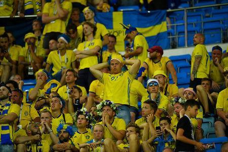 FILE PHOTO: World Cup - Group F - Germany vs Sweden - Fisht Stadium, Sochi, Russia - June 23, 2018 Sweden fans look dejected after the match REUTERS/Dylan Martinez/File Photo