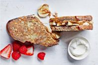 """When breakfast or brunch rolls around, it is difficult to find a dish more satisfying than French toast stuffed with almond butter and fresh banana slices. <a href=""""https://www.epicurious.com/recipes/food/views/stuffed-french-toast-with-almond-butter-and-banana?mbid=synd_yahoo_rss"""" rel=""""nofollow noopener"""" target=""""_blank"""" data-ylk=""""slk:See recipe."""" class=""""link rapid-noclick-resp"""">See recipe.</a>"""