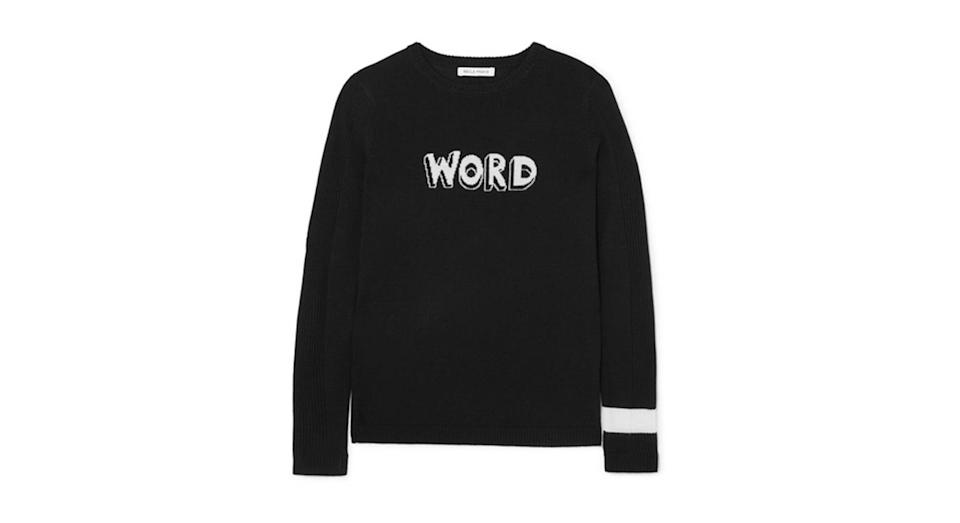 """<p>Bella Freud is known for her epic slogan jumpers – and this one doesn't disappoint. <a rel=""""nofollow noopener"""" href=""""https://www.net-a-porter.com/gb/en/product/1004884/bella_freud/word-wool-sweater"""" target=""""_blank"""" data-ylk=""""slk:Buy here."""" class=""""link rapid-noclick-resp""""><em>Buy here. </em></a> </p>"""