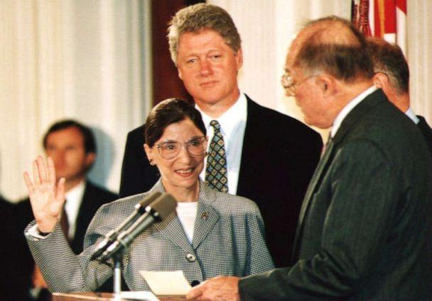 PHOTO: Chief Justice of the U.S. Supreme Court William Rehnquist administers the oath of office to newly-appointed U.S. Supreme Court Justice Ruth Bader Ginsburg as President Bill Clinton looks on, Aug. 10, 1993. (Kort Duce/AFP/Getty Images, FILE)