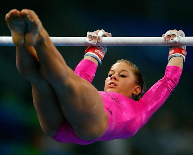 Shawn Johnson of the USA practices on the uneven bars ahead of the Beijing 2008 Olympic Games at the National Indoor Stadium on August 7, 2008 in Beijing, China.