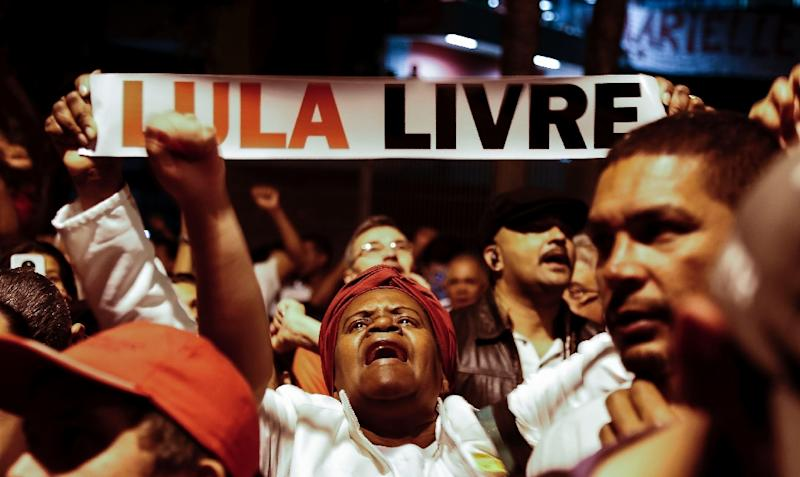 Supporters of Brazil's former president Luiz Inacio Lula da Silva have repeatedly demonstrated, like this protest in July, to demand his release from prison after his corruption conviction (AFP Photo/Miguel SCHINCARIOL)