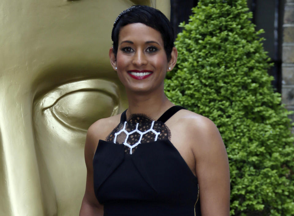 """FILE - In this Sunday, April 23, 2017 file photo, TV Presenter Naga Munchetty poses for photographers upon arrival at the British Academy Television and Craft Awards in east London. The BBC is facing a backlash after finding one of its presenters in breach of its editorial guidelines on impartiality for comments that were critical of U.S. President Donald Trump. Journalists and celebrities are on Friday, Sept, 27, 2019 demanding the BBC overturn its decision, expressing support for BBC Breakfast anchor Naga Munchetty, who was discussing Trump's remark on July 17 that four female American lawmakers should return to the """"broken and crime infested places from which they came.''(Photo by Joel Ryan/Invision/AP, file)"""