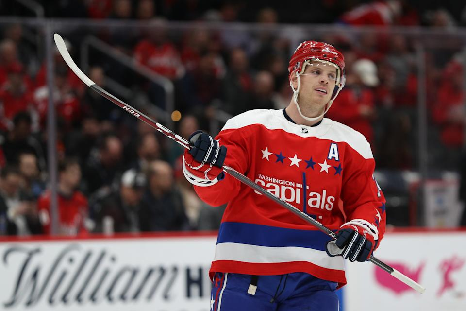 WASHINGTON, DC - MARCH 04: John Carlson #74 of the Washington Capitals looks on against the Philadelphia Flyers during the first period at Capital One Arena on March 4, 2020 in Washington, DC. (Photo by Patrick Smith/Getty Images)