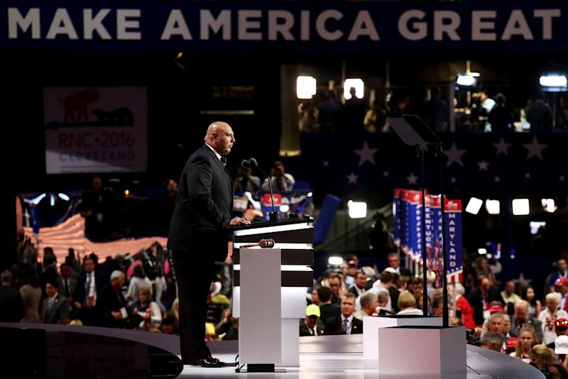 Sajid Tarar, founder of Muslims for Trump, delivers a speech on the second day of the Republican National Convention on July 19, 2016 at the Quicken Loans Arena in Cleveland, Ohio. (Win McNamee/Getty Images)
