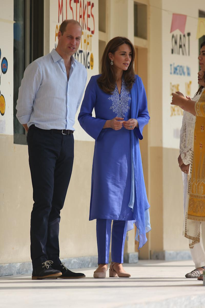 The Duchess of Cambridge wore New Look court shoes on her visit to Pakistan in 2019. (Getty Images)