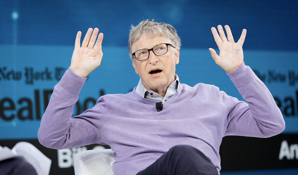 Bill Gates, Co-Chair, Bill & Melinda Gates Foundation speaks onstage at 2019 New York Times Dealbook on November 06, 2019 in New York City. (Photo by Michael Cohen/Getty Images for The New York Times)