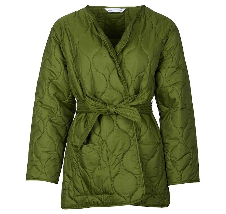"""<br><br><strong>BARBOUR BY ALEXACHUNG</strong> Martha Crop Quilted Jacket, $, available at <a href=""""https://www.barbour.com/uk/barbour-by-alexachung-martha-cropped-quilted-jacket-lqu1242gn31"""" rel=""""nofollow noopener"""" target=""""_blank"""" data-ylk=""""slk:Barbour"""" class=""""link rapid-noclick-resp"""">Barbour</a>"""