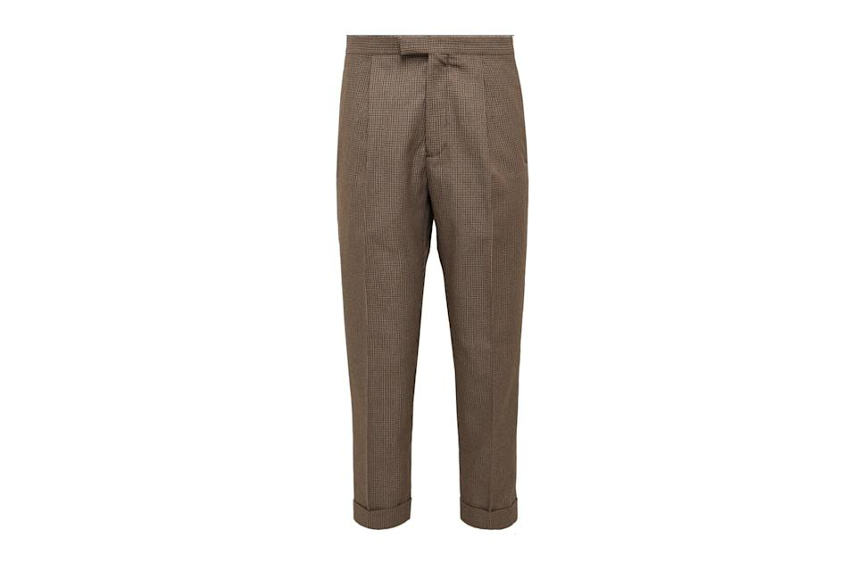 """$265, Mr Porter. <a href=""""https://www.mrporter.com/en-us/mens/product/beams-plus/clothing/formal-trousers/tapered-pleated-puppytooth-tweed-suit-trousers/10516758728518238"""" rel=""""nofollow noopener"""" target=""""_blank"""" data-ylk=""""slk:Get it now!"""" class=""""link rapid-noclick-resp"""">Get it now!</a>"""