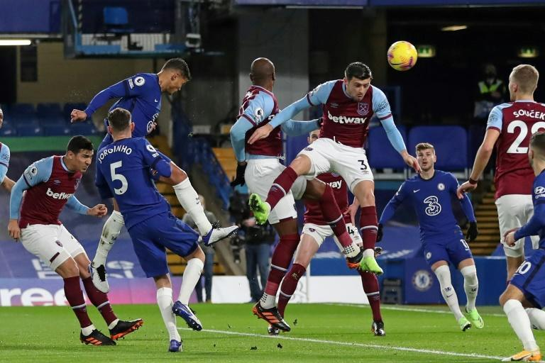 Chelsea defender Thiago Silva (third left) heads his side in front against West Ham at Stamford Bridge