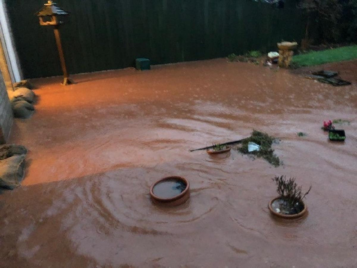 Flooding in Mrs James' garden