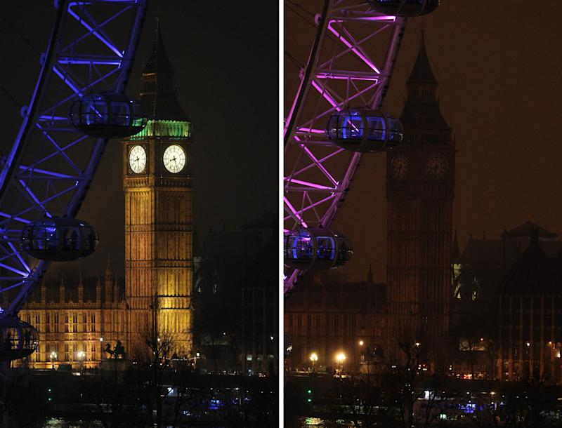 A two photo combination showing the Elizabeth Tower, which houses Big Ben at the Houses of Parliament in London, illuminated, left, and then in darkness as the lights were turned off to mark Earth Hour 2013, Saturday March 23, 2013. Earth Hour was marked worldwide at 8.30 p.m. local time and is a global call to turn off lights for 60 minutes in a bid to highlight the global climate change. (AP Photo/PA, Lewis Whyld)  UNITED KINGDOM OUT  NO SALES  NO ARCHIVE