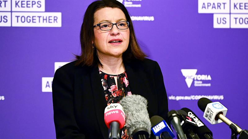 Victorian Minister for Health Jenny Mikakos, pictured here speaking to the media.