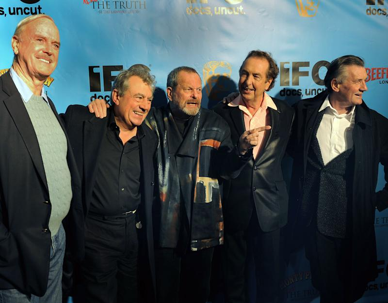 Cast members of the Monty Python troupe arrive at the Ziegfield Theater on October 15, 2009 to celebrate their 40th anniversary, receive a Special Bafta Award, and attend the premier of the IFC documentry 'Monty Python: Almost the Truth (The Lawyer's Cut)'. From left are: John Cleese, Terry Jones, Terry Gilliam, Eric Idle, and Michael Palin. AFP PHOTO / TIMOTHY A. CLARY (Photo credit should read TIMOTHY A. CLARY/AFP/Getty Images)
