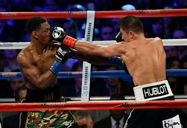 Gennady Golovkin (R) connects with a jab in his fight on March 18 at Madison Square Garden with Daniel Jacobs. (Getty Images)