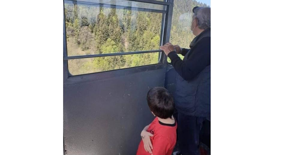 Eitan with his great-grandad in a photo taken moments before the accident. Credit: The U.S. Sun