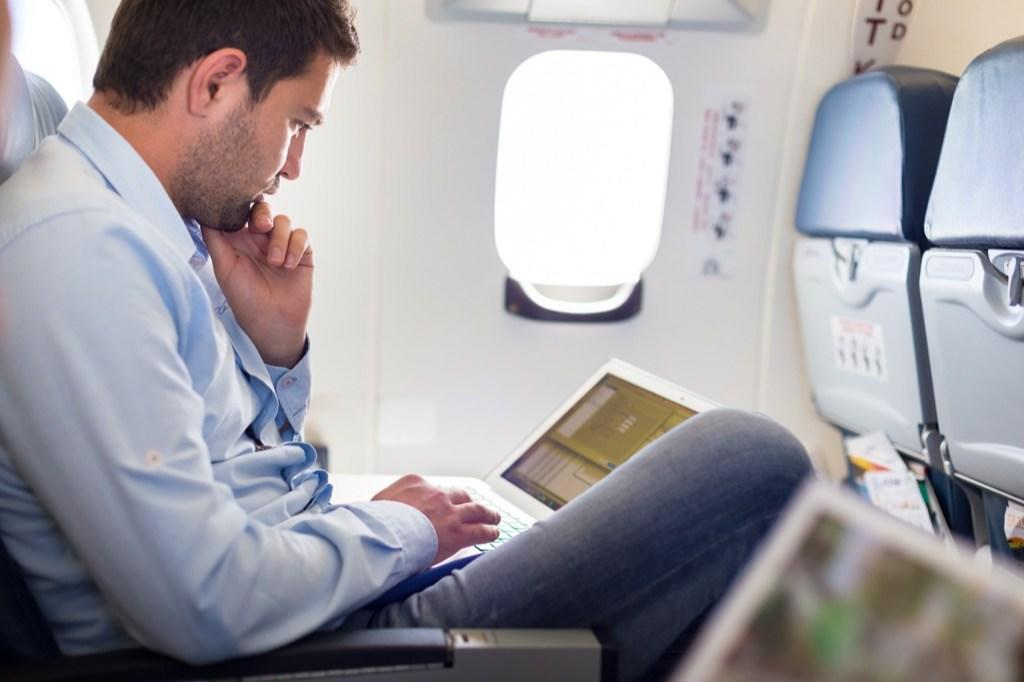 """If your leg starts to cramp after a long flight, <a href=""""https://bestlifeonline.com/what-doctors-appointments-to-make/?utm_source=yahoo-news&utm_medium=feed&utm_campaign=yahoo-feed"""" target=""""_blank"""">don't wait to get it checked out</a>. Being immobile for a long period of time puts you at risk of <a href=""""https://www.cdc.gov/ncbddd/dvt/travel.html"""" target=""""_blank"""">developing blood clots</a> in the deep veins of your legs. If left untreated, these blood clots can travel to the lungs and cause a potentially fatal pulmonary embolism. Other symptoms to watch out for include swelling, pain, and reddened skin that is warm to the touch."""