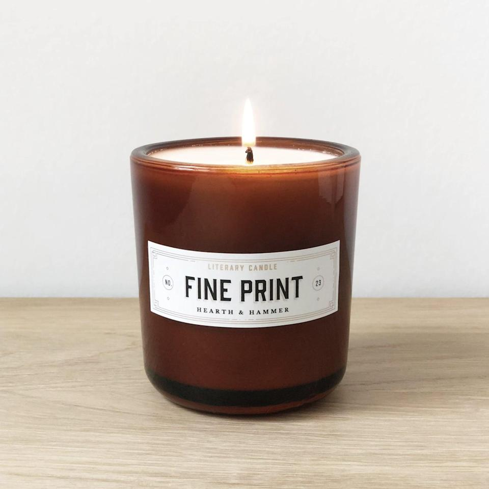 """<p>With notes of citrus, amber, and dark musk, this <span>Hearth & Hammer General Fine Print Literary Soy Candle</span> ($30) is meant to conjure up the image of words on a page. The brand also carries a <a href=""""http://hearthandhammer.co/collections/scent-1/products/first-edition-literary-soy-candle"""" class=""""link rapid-noclick-resp"""" rel=""""nofollow noopener"""" target=""""_blank"""" data-ylk=""""slk:First Edition Literary Soy Candle"""">First Edition Literary Soy Candle</a> featuring notes of sandalwood and leather and inspired by the scent of a forgotten leatherbound book.</p>"""