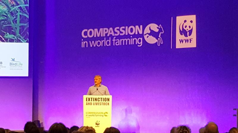 <strong>Karl Falkenberg speaking at Compassion in World Farming's Extinction and Livestock Conference.</strong> (Kathryn Snowdon)