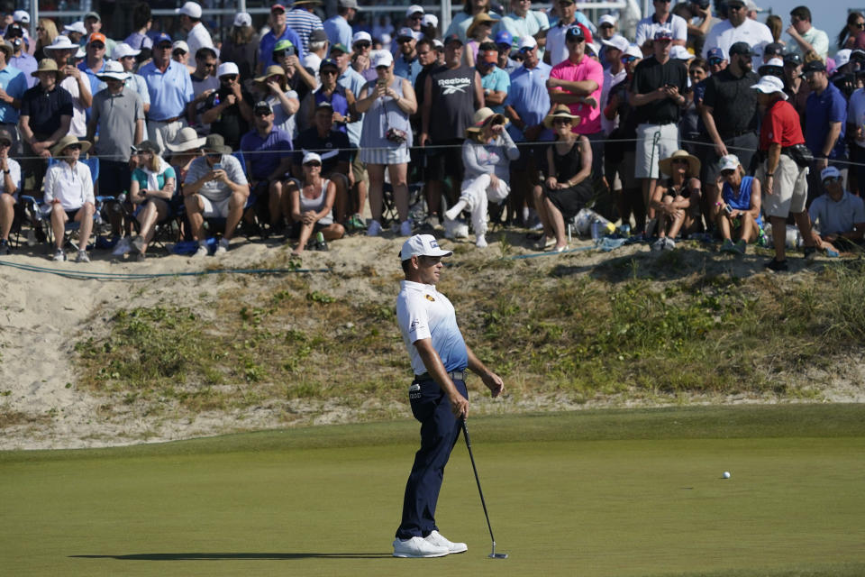 Louis Oosthuizen, of South Africa, misses his putt on the 10th green during the final round at the PGA Championship golf tournament on the Ocean Course, Sunday, May 23, 2021, in Kiawah Island, S.C. (AP Photo/Matt York)