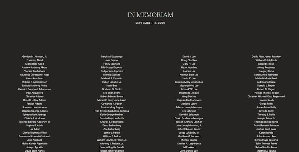 """Archewell's homepage had a black drop with the words """"In Memoriam, September 11, 2001"""" at the top (archewell.com)"""