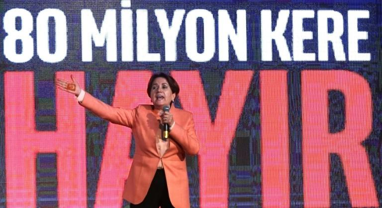 "A capable orator who sports a henna tattoo of the Turkish flag on the inside of her hand, Aksener has been holding rallies nationwide with the slogan: ""80 million times no"" referring to the country's population"