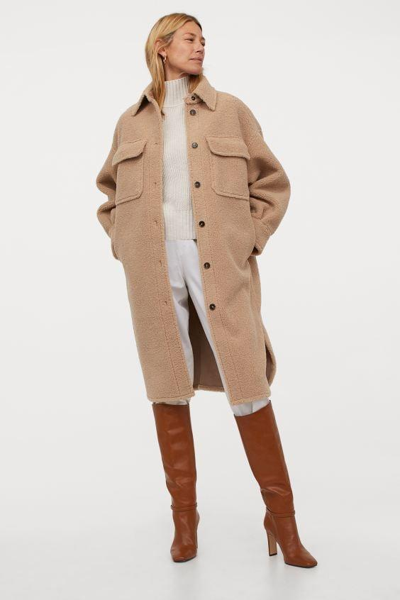 <p>This <span>H&M Long Faux Shearling Shacket</span> ($80) is so cozy.</p>