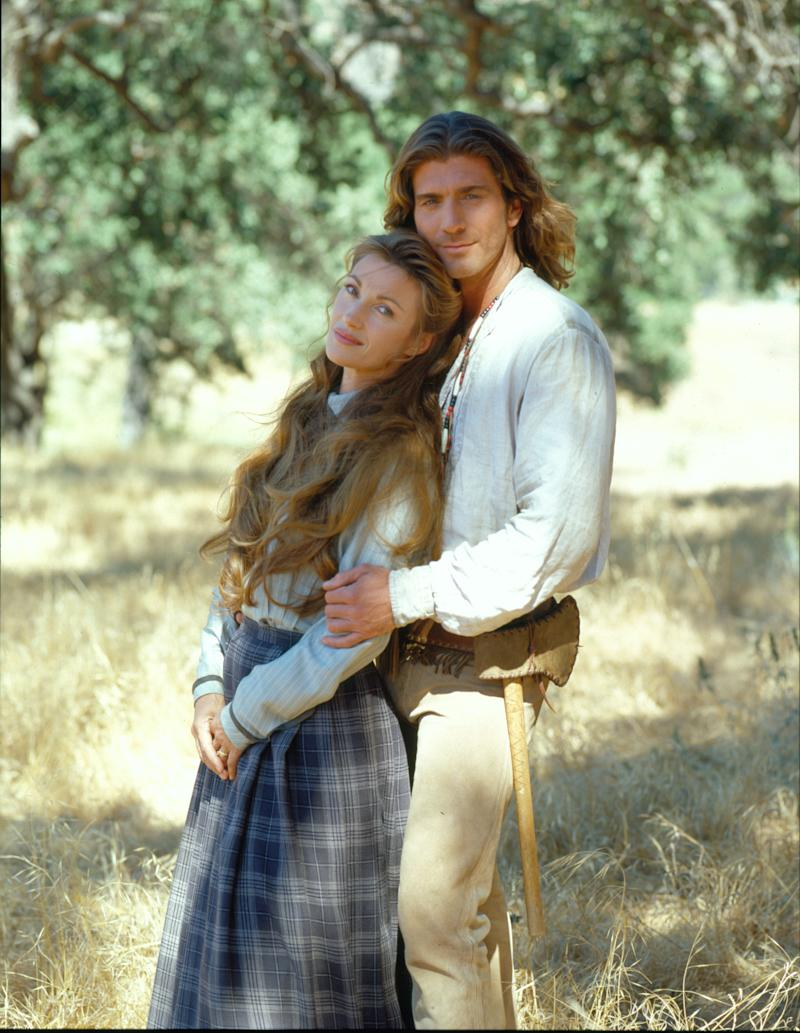 Promotional portrait of British actress Jane Seymour (born Joyce Penelope Wilhelmina Frankenberg), as Dr. Michaela 'Mike' Quinn, and American actor Joe Lando, as Byron Sully, in the television series 'Dr. Quinn, Medicine Woman,' June 1996. (Photo by Charles Bush/CBS Photo Archive/Getty Images)