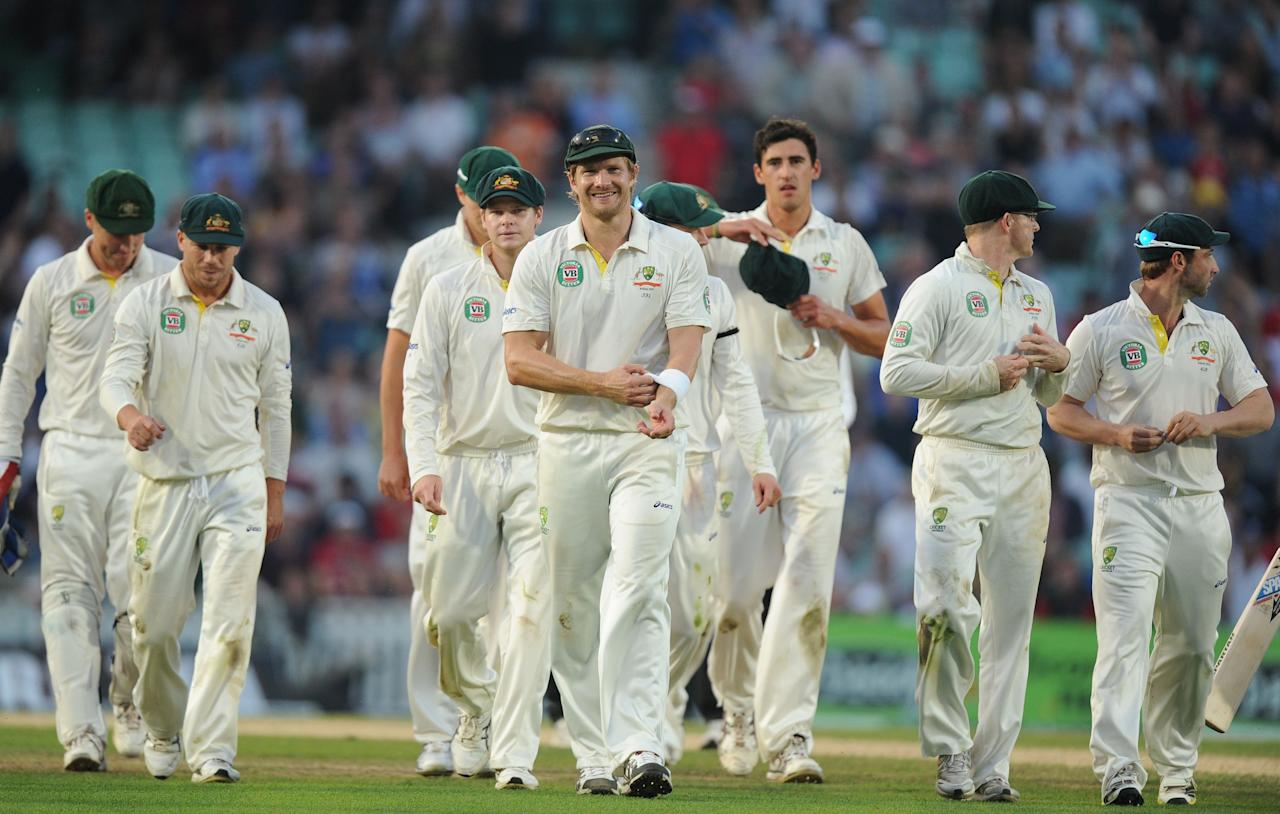 Australia walk off following day five of the Fifth Investec Ashes Test match at The Kia Oval, London.