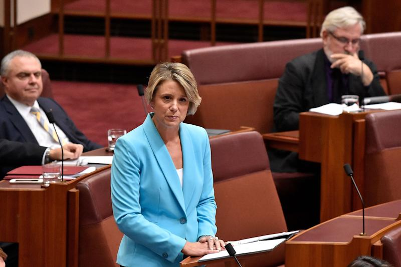 Labor Senator for NSW Kristina Keneally delivers her first speech in the Australian Senate on March 27, 2018 in Canberra, Australia. The former NSW Premier was sworn in as a senator in February 2018, filling the vacancy left after Sam Dastyari resigned from parliament. Image: Getty
