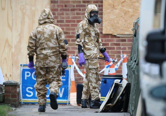 Members of the military wore protective clothing as work took place at the home of former Russian spy Sergei Skripal