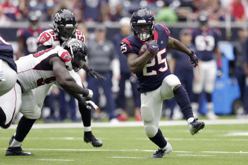 Houston Texans running back Duke Johnson (25) runs against the Atlanta Falcons during the second half of an NFL football game Sunday, Oct. 6, 2019, in Houston. (AP Photo/Michael Wyke)