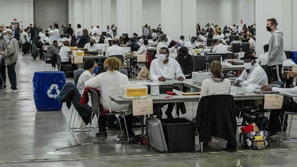 PHOTO: Election ballots are counted at the TCF Center in Detroit, Nov. 4, 2020. (Seth Herald/AFP via Getty Images)